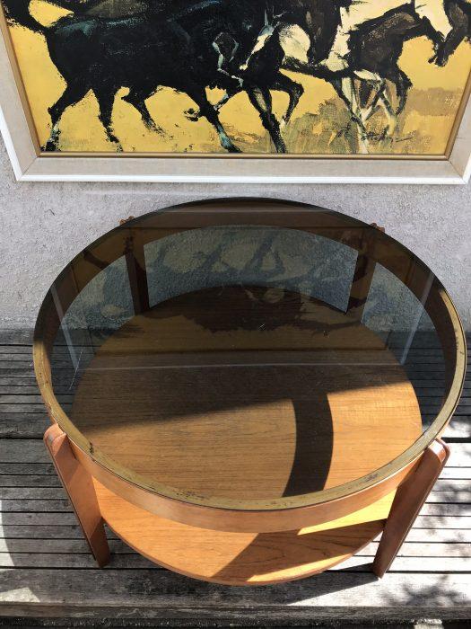 Vintage Retro Round Glass Topped Coffee Table