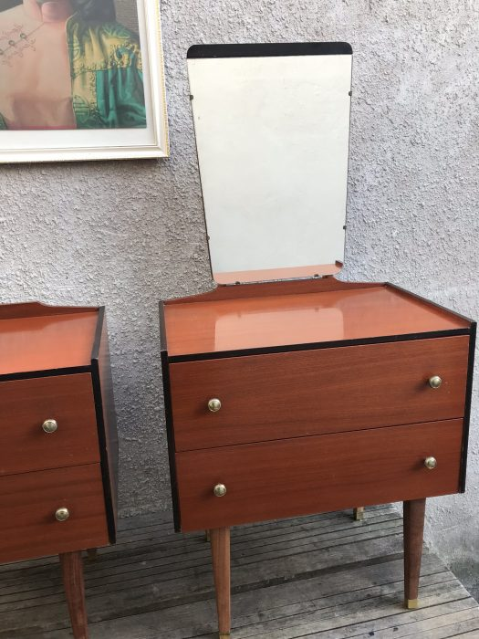 Matching Pair Of 1950s Vintage Retro 2 Drawer Bedroom Chests One With Mirror
