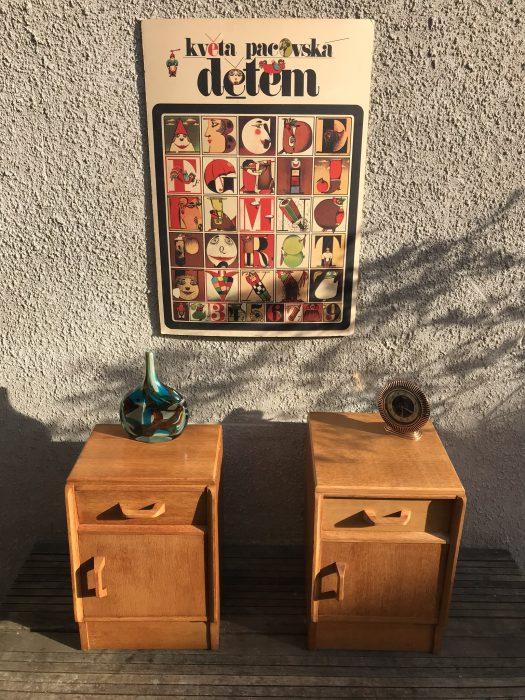 Mid Century G PLAN BRANDON Light Oak Pair Of Bedside Cabinets