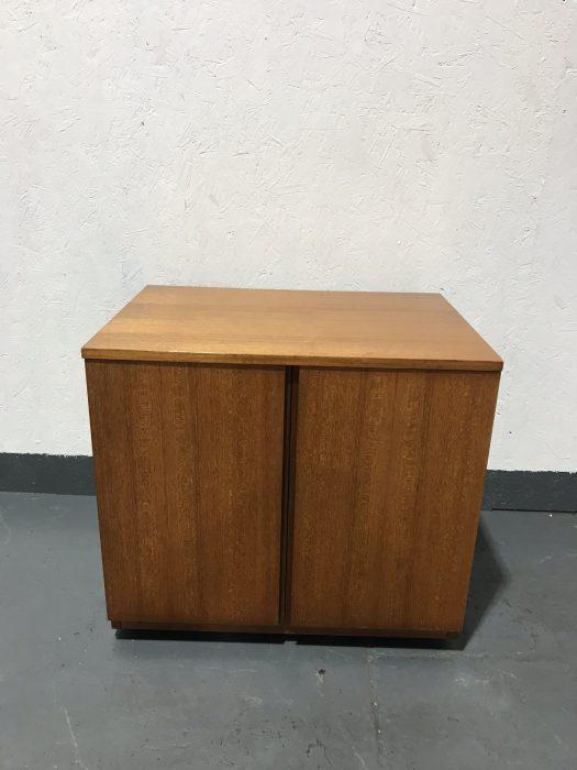 1970s Retro Vinyl Record Storage Cupboard Cabinet On Original Castors