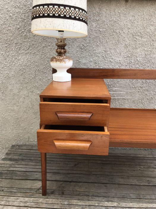 Vintage Retro Chippy Heath Teak Telephone Seat