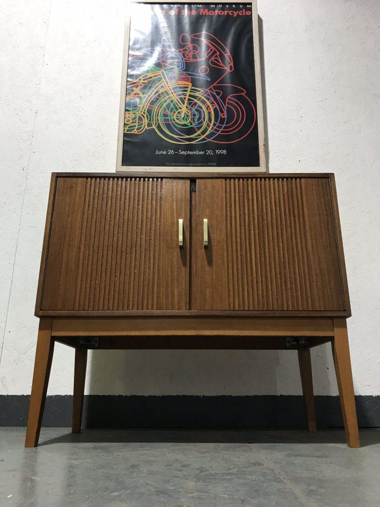 Retro Vinyl Record Storage Cupboard Cabinet On Raised Legs