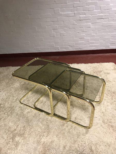 Vintage Retro Brass Glass Nest of Tables Boho Hollywood Art Deco Style