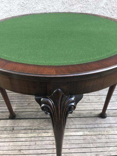 Elegant D Shaped Queen Anne Style Mahogany Antique Console / Games Table