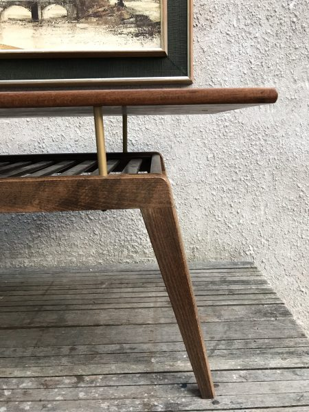 Mid Century Floating Top Coffee Table with Slatted Magazine Rack