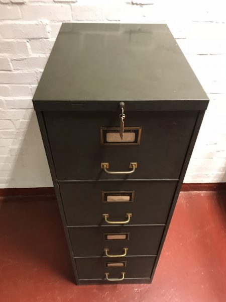Vintage Industrial Roneo Metal Filing Cabinet