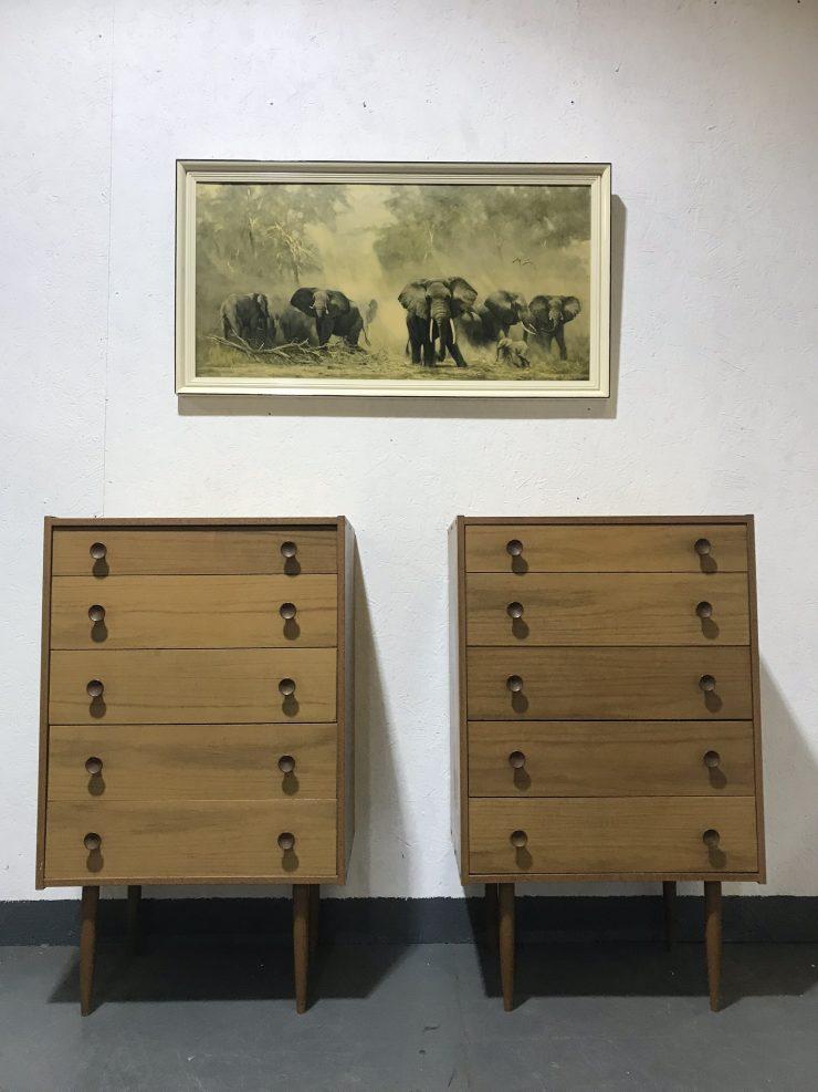 Pair Of Vintage 1970's Teak Veneer Chest Of 5 Drawers