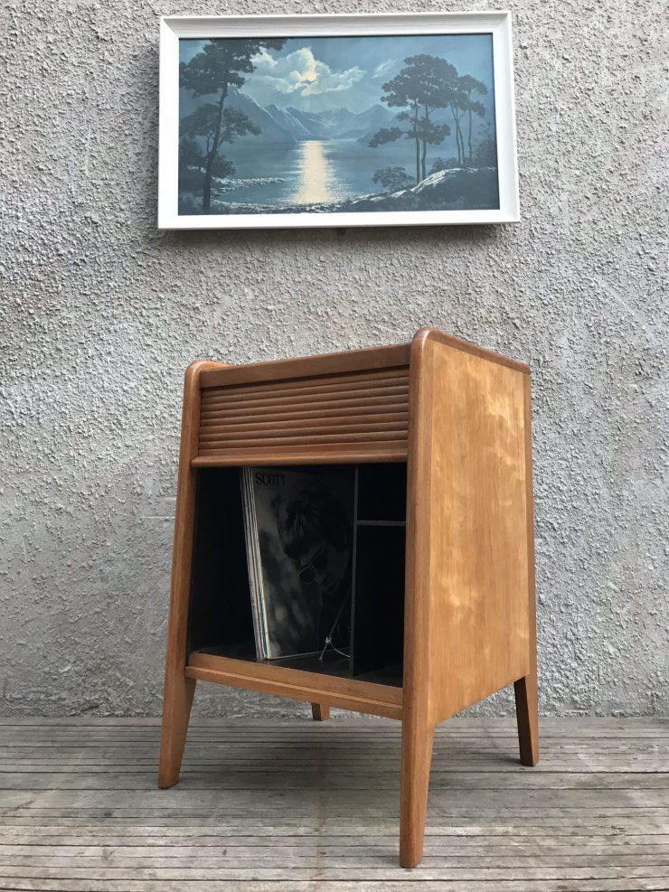 Mid Century 1950s Vintage Teak Tambour Vinyl Record Cabinet
