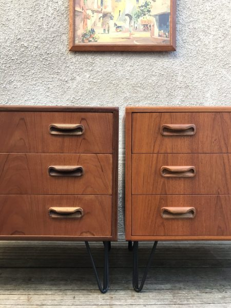 Pair of Retro 1970s G Plan Fresco Chest of 3 Drawers on Hairpin Legs