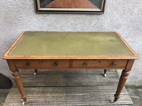 Antique Late Victorian Oak Writing Desk