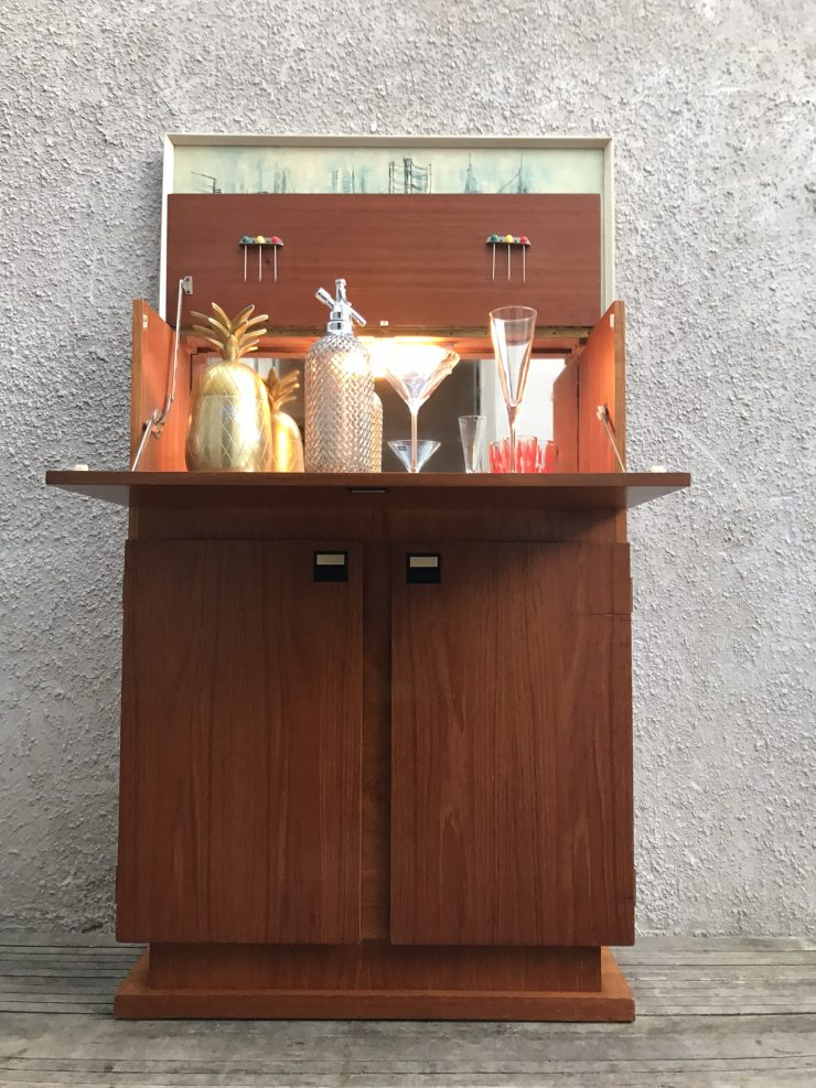 Sureline Mid Century Late 1950's Teak Effect Cocktail Cabinet By George Serlin and Sons