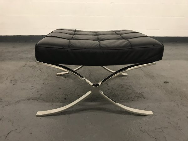 BARCELONA Footstool Ottoman Reproduction in Black Leather
