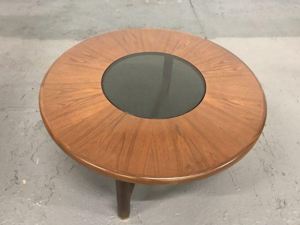G Plan Teak Retro Circular Coffee Table With Smoked Glass Center