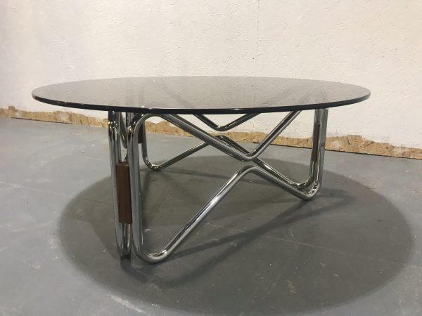 1970s Retro Tubular Chrome Smoked Glass Teak Coffee Occasional Side Table