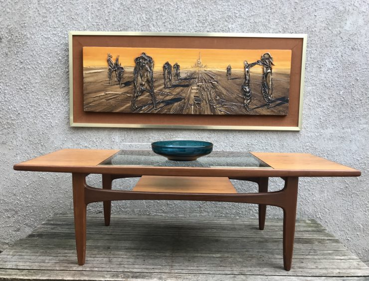 Vintage 1970s Teak Glass Top G PLAN Long John Coffee Table