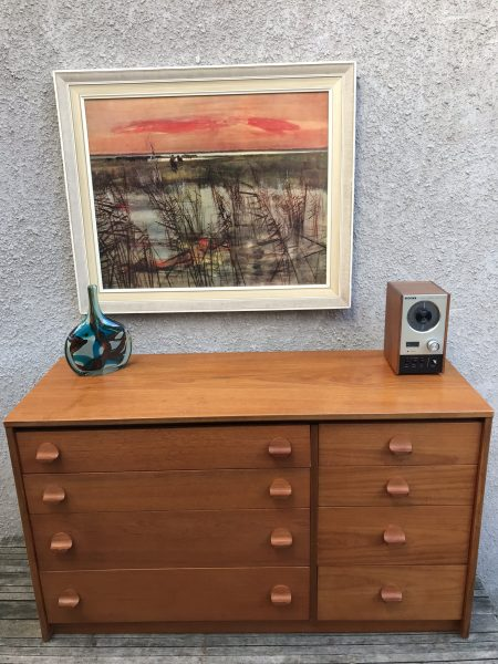 Mid Century Vintage STAG Teak Chest of 8 Drawers