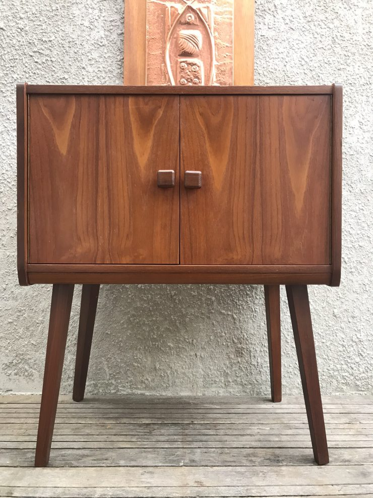 Mid Century Vintage Teak Vinyl Record Cabinet 1960s On Raised Legs