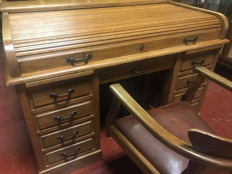 Vintage 1930s Oak Roll Top Desk & Matching Office Swivel Chair