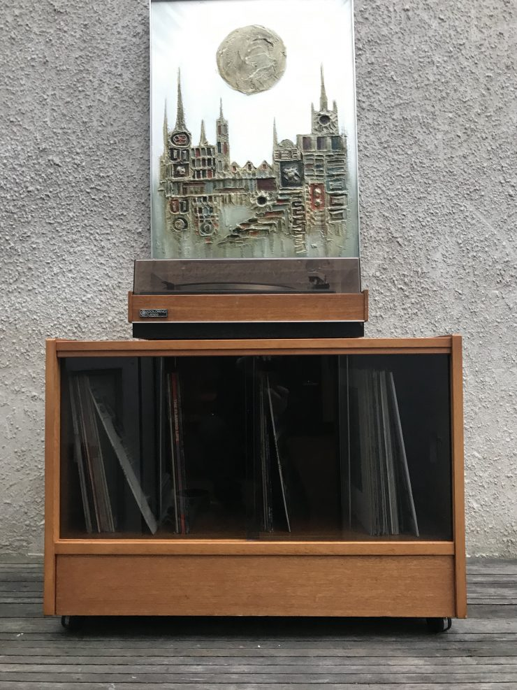1980s Vinyl Record Storage Retro Cabinet On Original Castors Smoked Glass