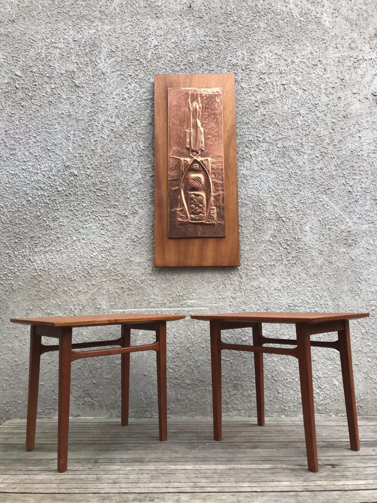 Matching Pair Of Mid Century Danish Inspired Side Tables
