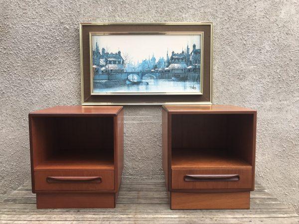 Pair Of Vintage Mid Century G Plan Fresco Teak Bedside Cabinets