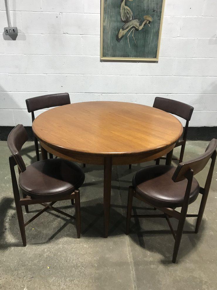 Classic G PLAN FRESCO Dining Table and 4 Kofod Larsen Dining Chairs