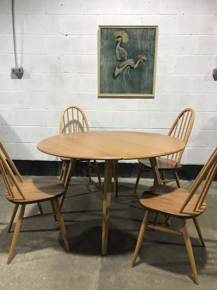 ERCOL Blonde Windsor Drop Leaf Table & 4 Matching Quaker Chairs
