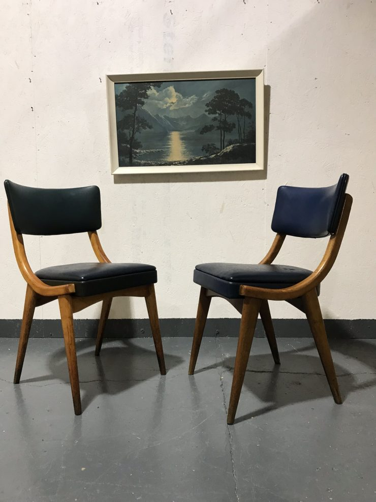 Pair Of Mid Century Vintage Stoe Ben Chairs Dining Chairs Pair of beech dining / armchair / carver chairs in original blue vinyl. Manufactured by British Stoe Ben Chairs circa 1960s. Stylishly crafted bentwood construction and original vinyl. Price is for both chairs. In good vintage condition, chairs are structurally sturdy and free from any wood worm. The vinyl is also free of any rips / tears or significant scuffs. As with all vintage furniture there are a few marks / stains from years of use but no damage. Please review the photos - happy to answer any questions or send more photos.  Measurements: W52cm x D52cm x H80cm Seat Height 47cm  Free delivery in Cardiff Collection from CF11 9BZ Happy to work with a courier of your choosing / organising.