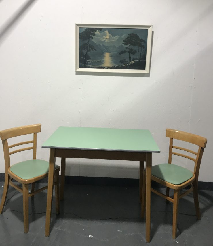 Vintage 1950s Formica Kitchen Table With 2 X Matching Dining Chairs