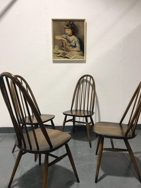 4 Ercol 1980s Vintage Golden Dawn Windsor Quaker Back Dining Chairs 365