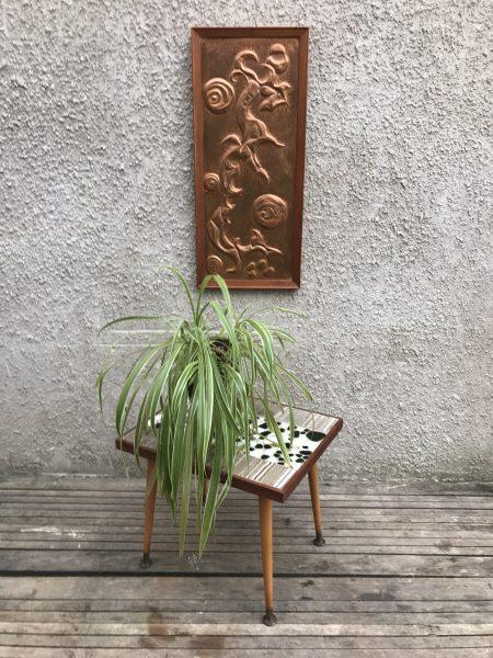 Small Retro Vintage Pebble / Tile Top Coffee Table Rectangle On Dansette Sputnik Legs