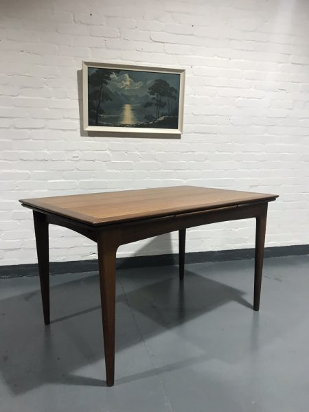 Vintage 1960s Danish Inspired Teak Drawleaf Extending Dining Table By A. Younger
