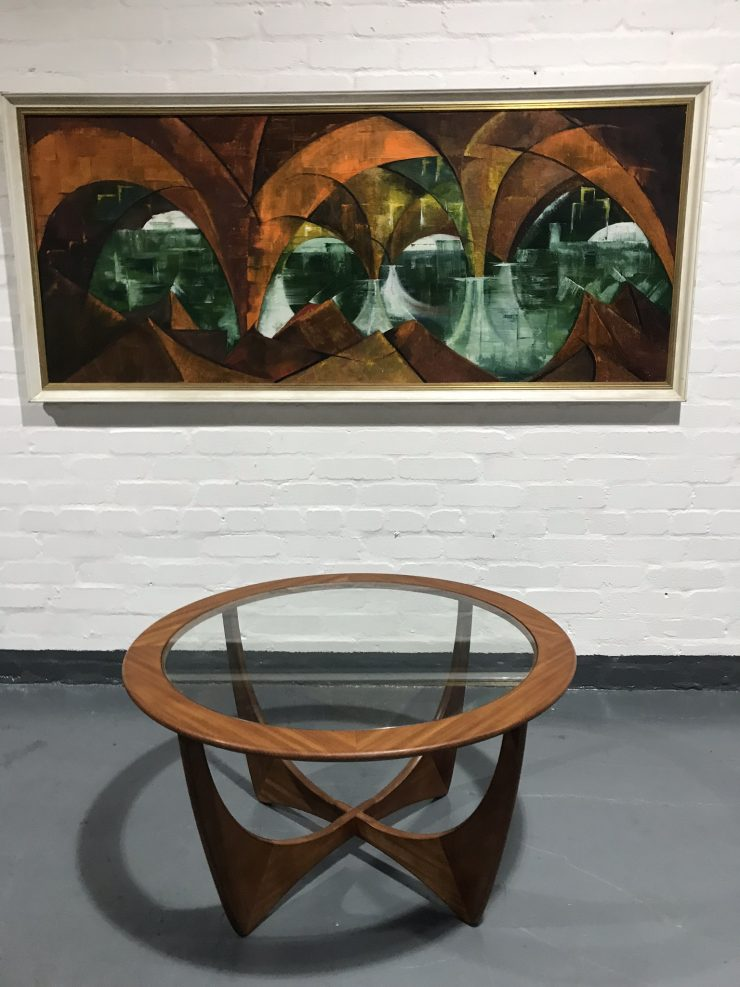 Vintage 1970s Teak Glass Circular 'Astro' Coffee Table by V.B. Wilkins for G Plan