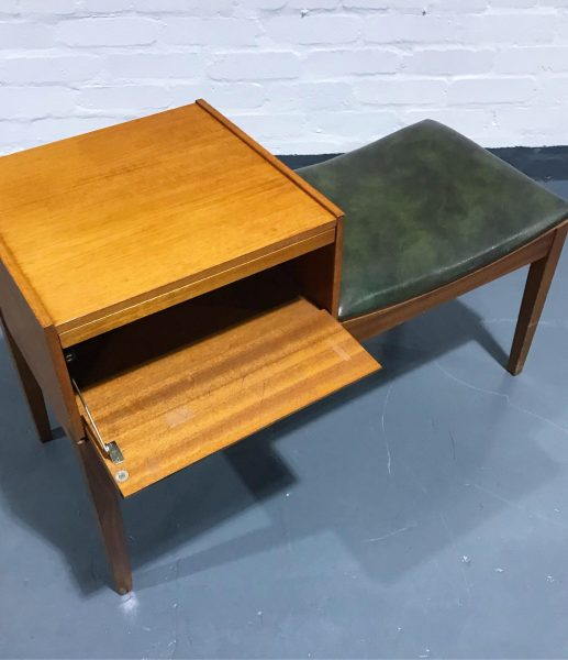 Retro Telephone Hall Table with Seat Drawer & Shelf By Chippy