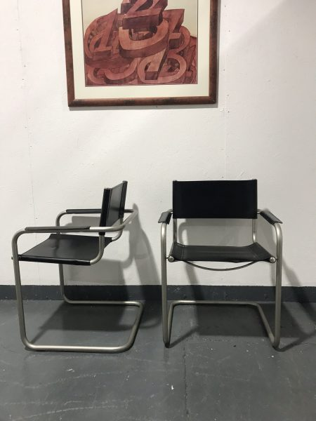 Pair Of Retro Style Italian Black Faux Leather & Chrome Chairs Bauhaus Style