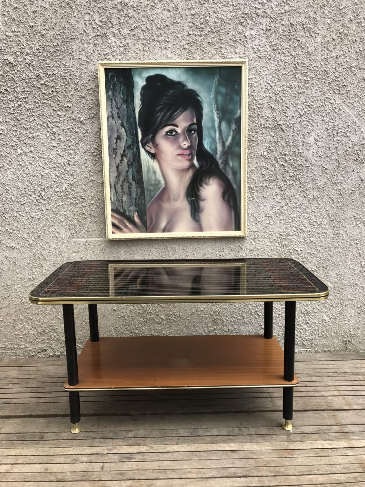 Vintage Mid Century Patterned Glass Top Wooden Coffee Table / Side Table with Magazine Rack