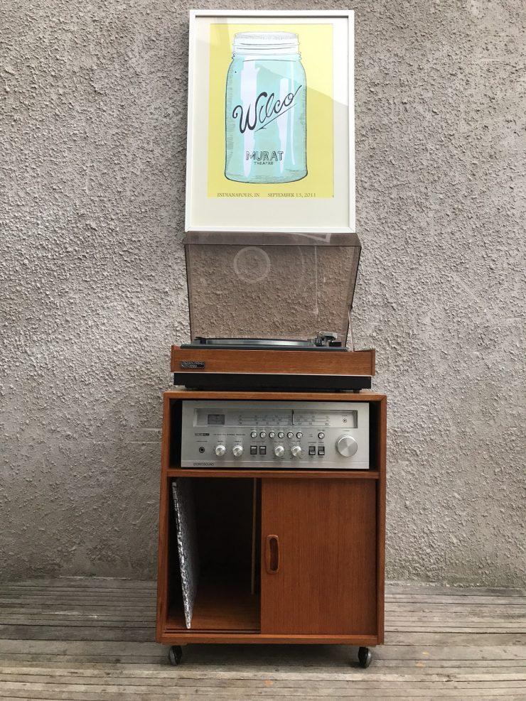 Vintage Mid Century Teak Record / Vinyl Storage Cabinet on Castors