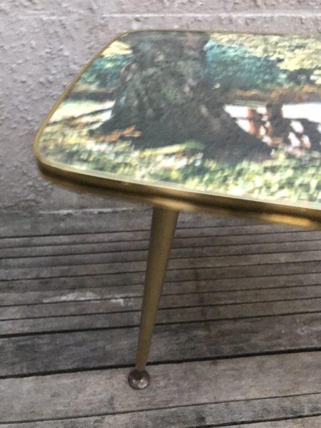 Striking Vintage Retro 1950s / 60s / 70s Kitsch Picture Coffee Table Dansette Legs