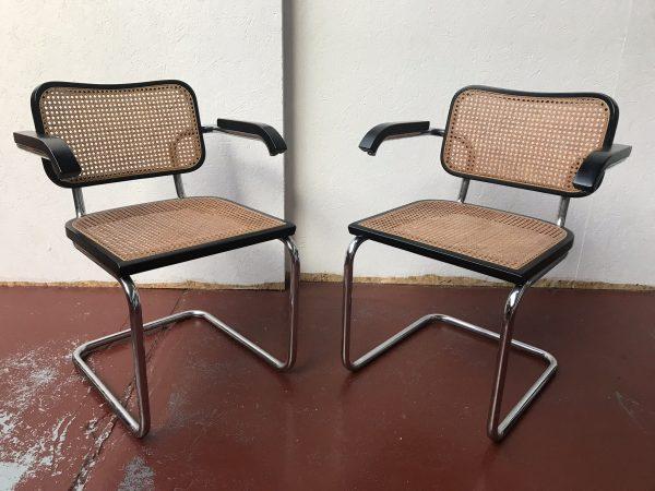 6 Marcel Breuer Cesca Bauhaus Style Chrome / Weave Dining Chairs & Extendable Table