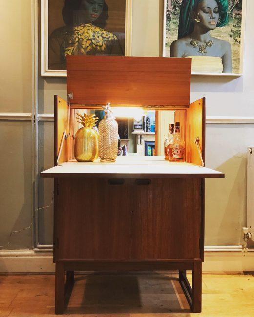 Mid Century Vintage TURNIDGE Cocktail Drinks Cabinet Bar 'Man Cave' Retro
