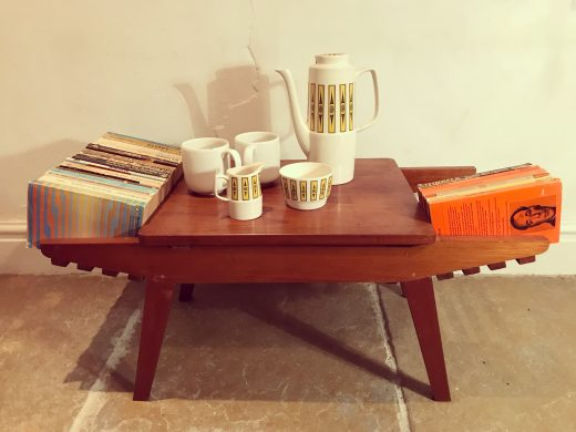 Mid Century Vintage Danish Style Wooden Coffee Table / Side Table / Book Shelf