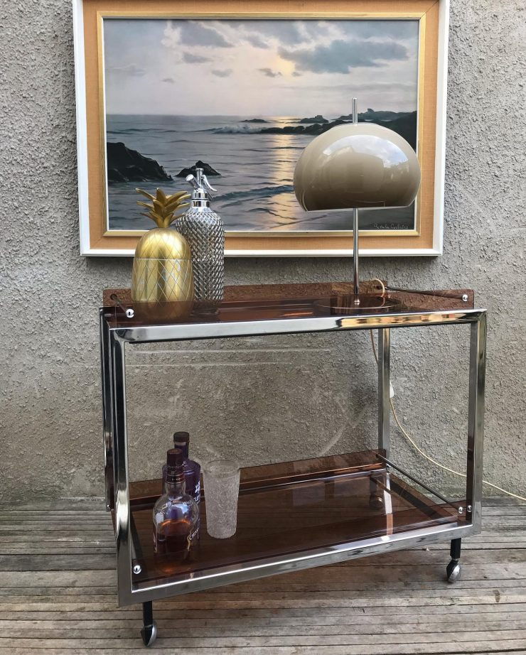 Mid Century Vintage MDA Chrome Drinks Trolley by Howard Miller for Merrow 1970s