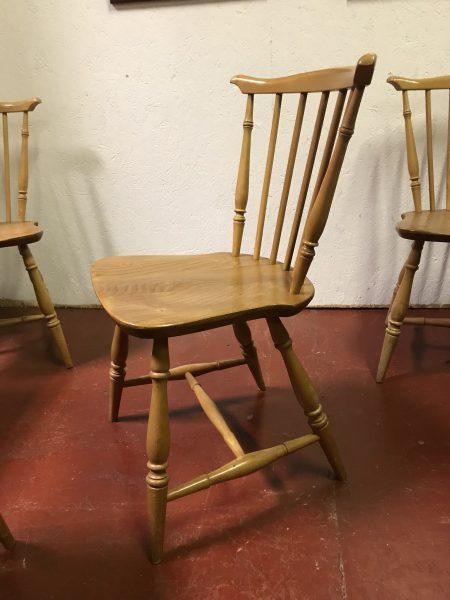 Set of 4 ERCOL Vintage Blonde Fan Back Windsor Dining Chairs Model 714