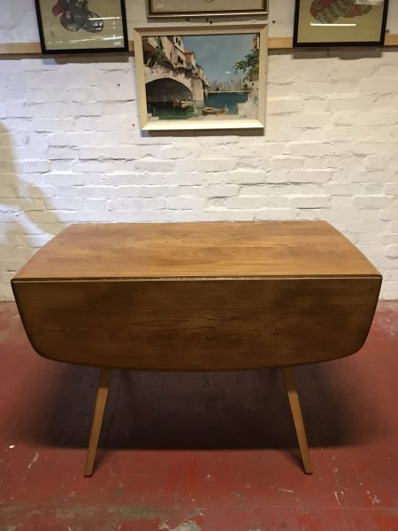 1960s ERCOL Drop LeafSquare Elm & Beech Dining Table Model 833