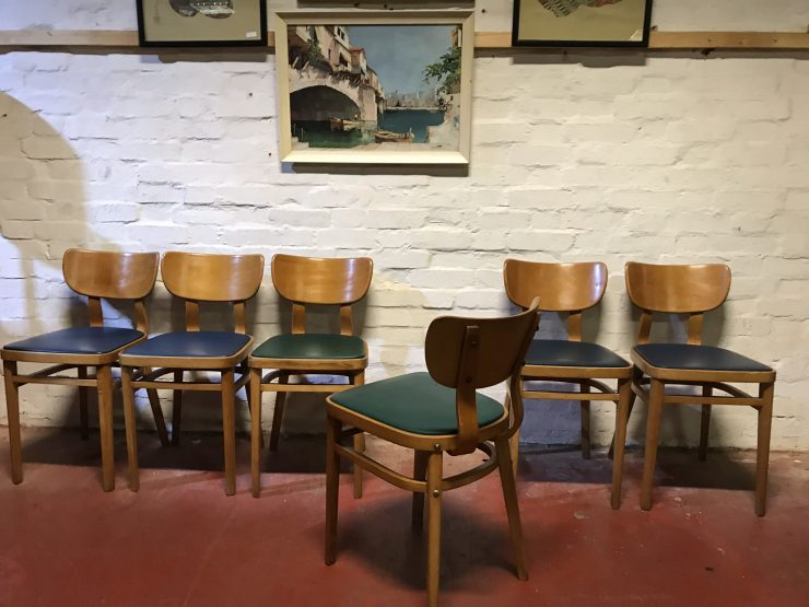 Six Vintage Mid Century Bentwood BEN CHAIRS - Cafe / Coffee Shop / Dining / Kitchen Chairs