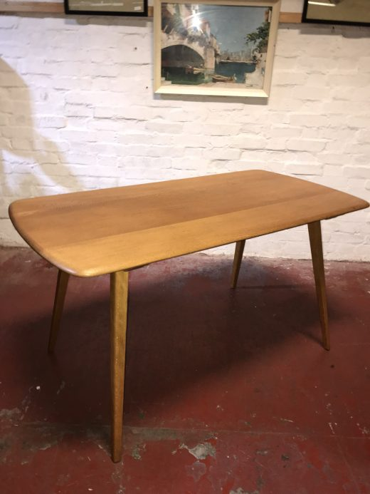 Mid Century Vintage ERCOL Blonde Windsor Plank Dining Table Model 382 Blue Label
