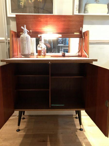 Mid Century Vintage Cocktail Drinks Cabinet Bar on Dansette Legs