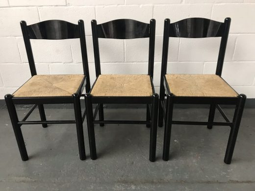 Set of 3 Vintage DANISH Style Black Dining Kitchen Chairs Rope Wicker Seat