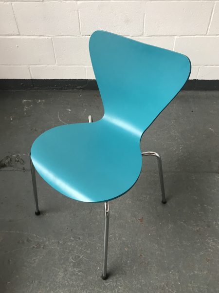 Set of Four Retro Turquoise ALLERMUIR Series 7 Style Chairs