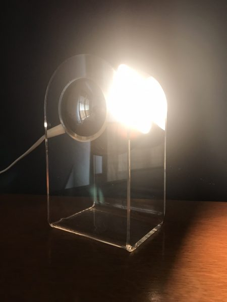 Vintage MCM Robert Sonneman Style Lucite Base Silver Eyeball Table Lamp